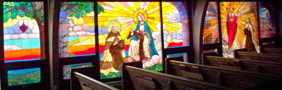 Stained glass window in our chapel